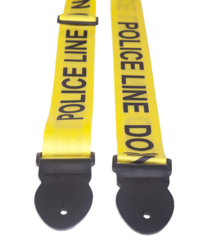 "LG Police Line - Yellow 2"" Webbed Guitar Strap"