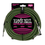 Ernie Ball 10ft /3m Black / Green Braided Right Angle - Straight Jack Cable