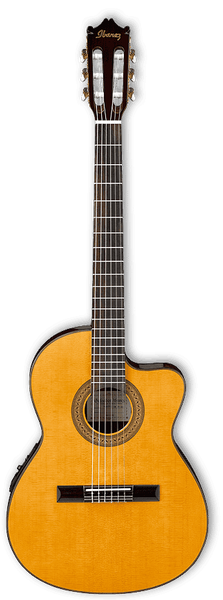 (N) Ibanez (GA5TCE-AM) thin necked electric acoustic classical guitar - Amber high gloss