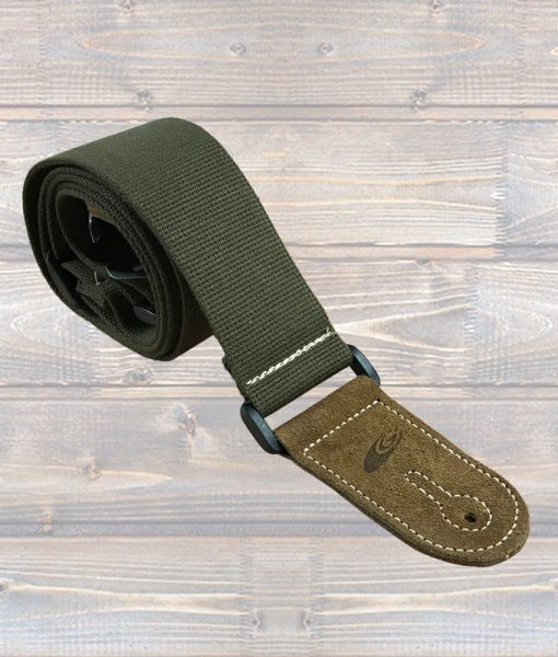 "LG 2"" Army Green / Khaki Cotton Woven Guitar Strap"