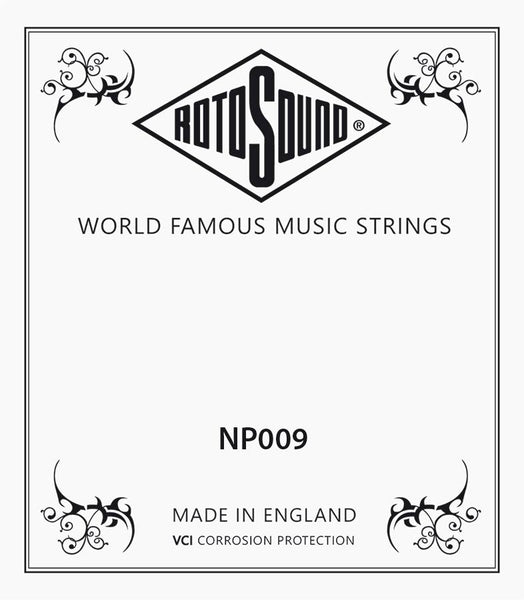Rotosound Single .009 Plain Stainless Steel Guitar String