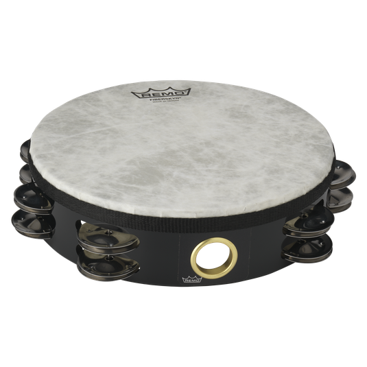 "Remo Fiberskyn Quadura 8"" Double Row Headed Tambourine - Black"