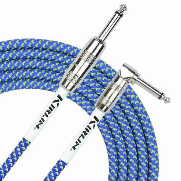 Kirlin 10ft / 3m Blue woven right angle - straight jack cable