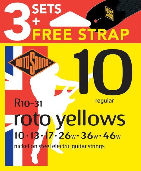 Rotosound R10  Triple Pack + Free Strap - Electric Guitar Strings