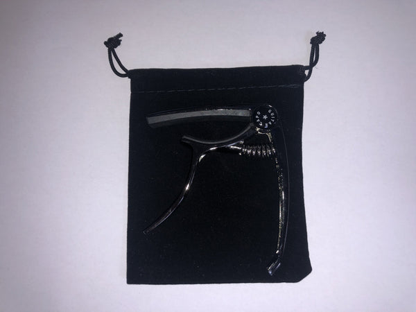 Black nickel acoustic / electric guitar capo in velvet pouch