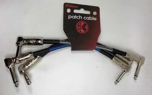 "Kirlin 6"" / 15cm Woven Angled - Angled Jack Patch Cables - Pack Of 3"