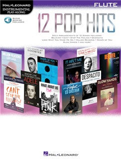 Hal Leonard Instrumental Play-Along :12 Pop Hits - Flute (Book/Online Audio)
