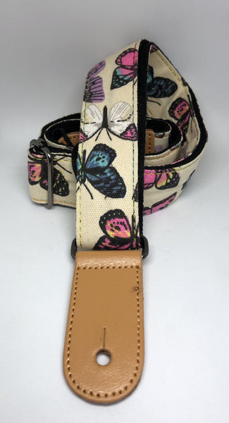 "1.5""  Wide Ukulele Strap - Butterfly  Design"