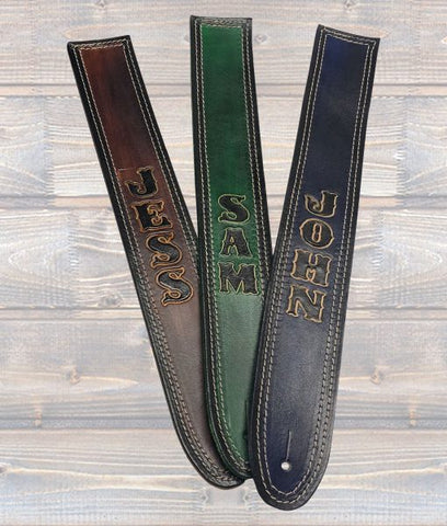 Full grain leather personalised guitar strap