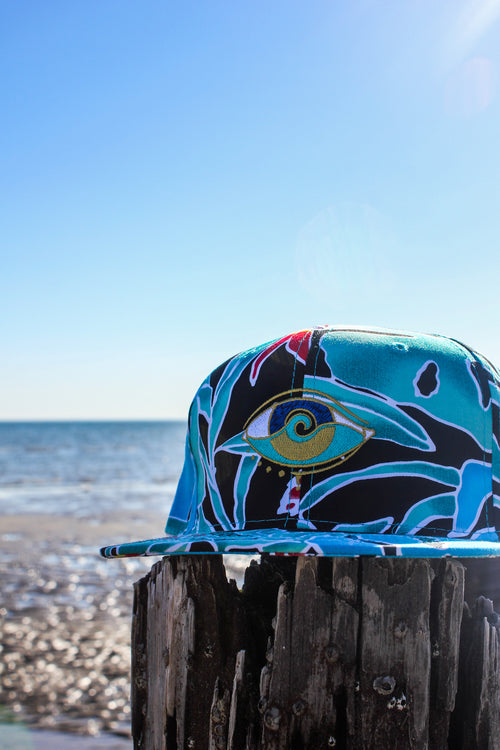 blue coral embroidered SEANOE snapback cap