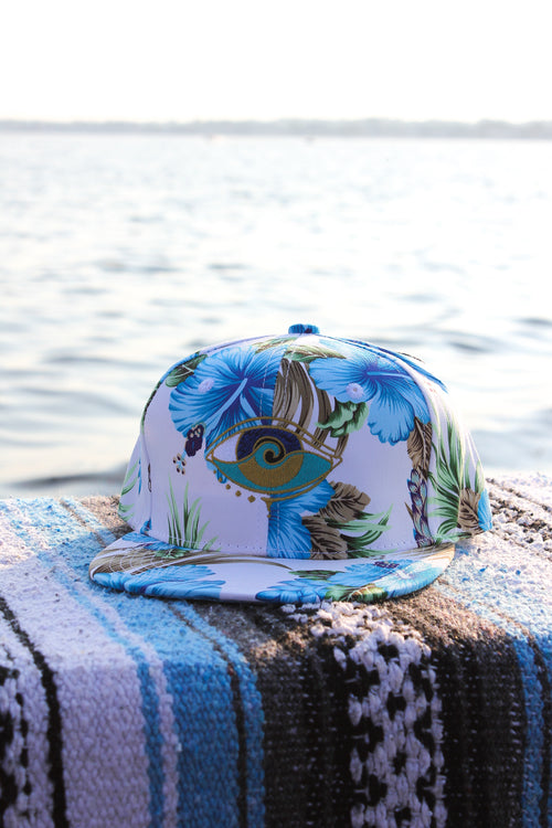 kids blue hibiscus embroidered SEANOE snapback hat