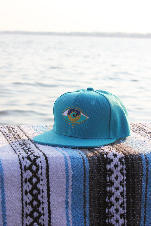 kids turquoise embroidered SEANOE snapback hat