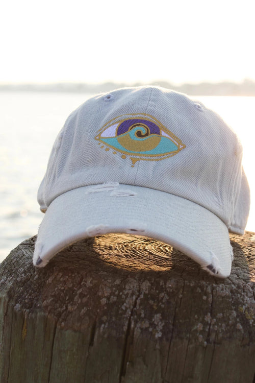 light denim distressed embroidered SEANOE dad hat