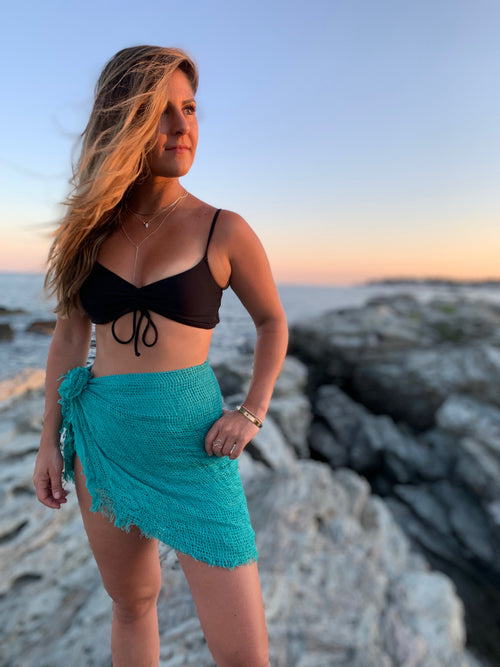 TEAL OPEN STITCH SARONG WRAP