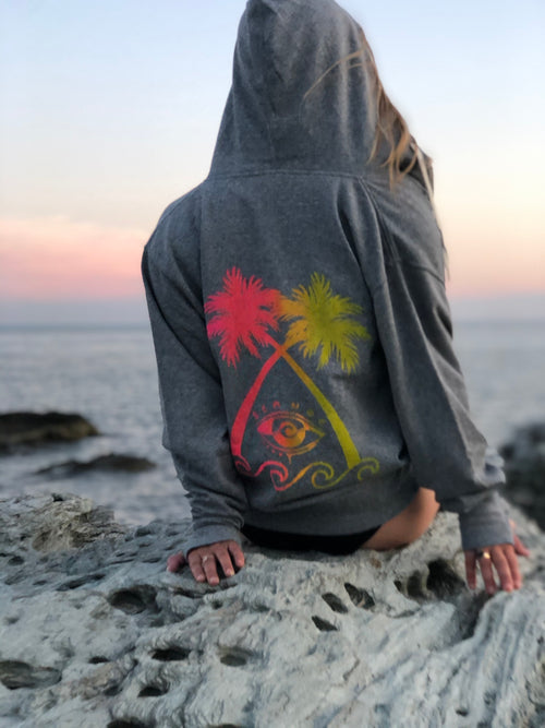 NEON PALM ZIP UP HOODIE