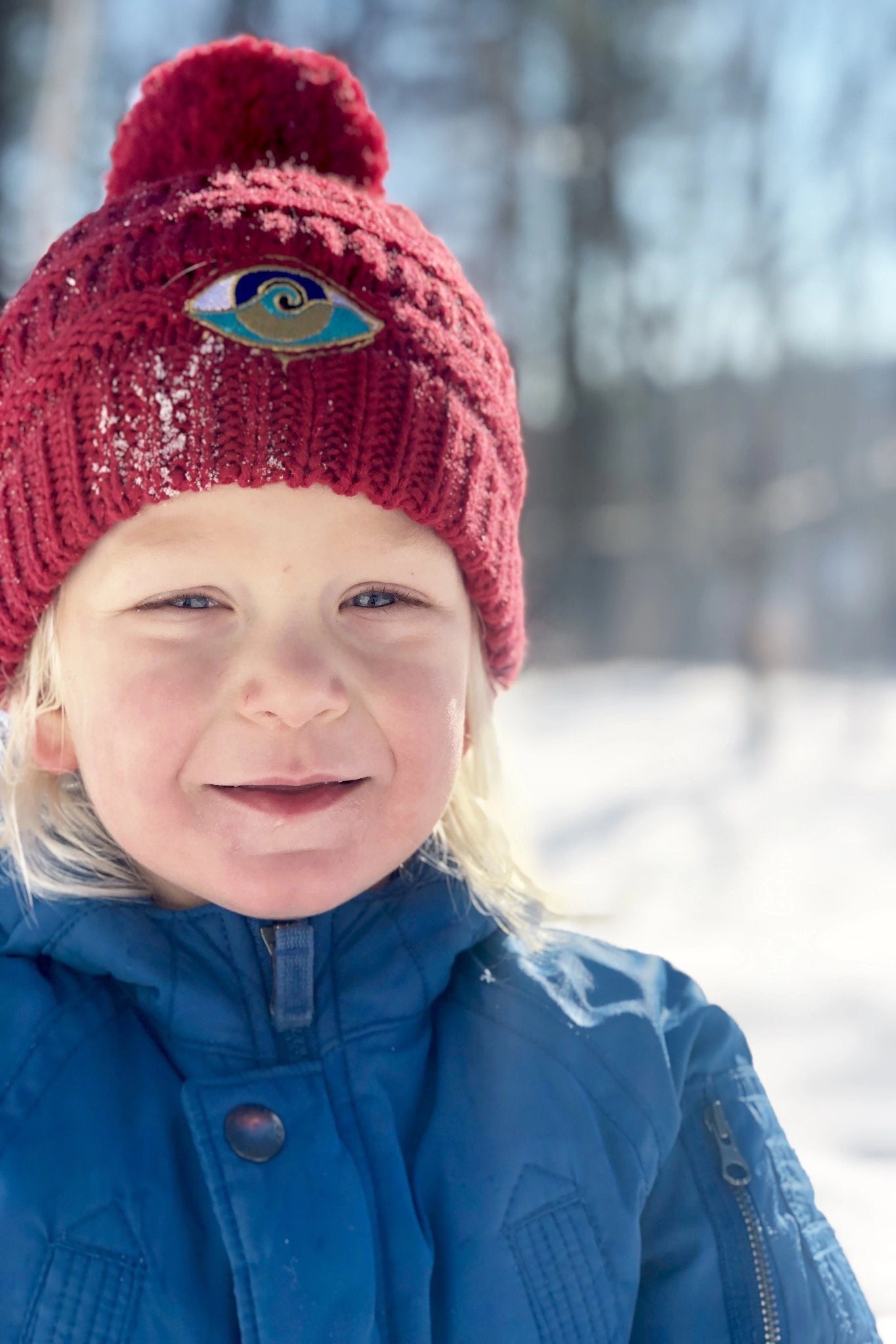 KIDS RED SEANOE POM BEANIE