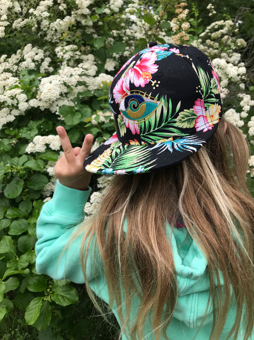kids black hibiscus embroidered SEANOE snap back hat