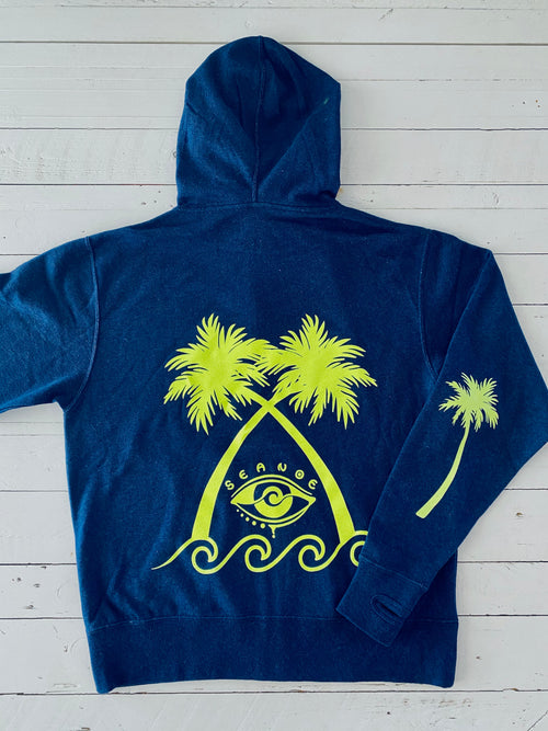 GREEN NEON PALM ZIP UP HOODIE