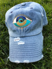 medium denim distressed embroidered SEANOE dad hat