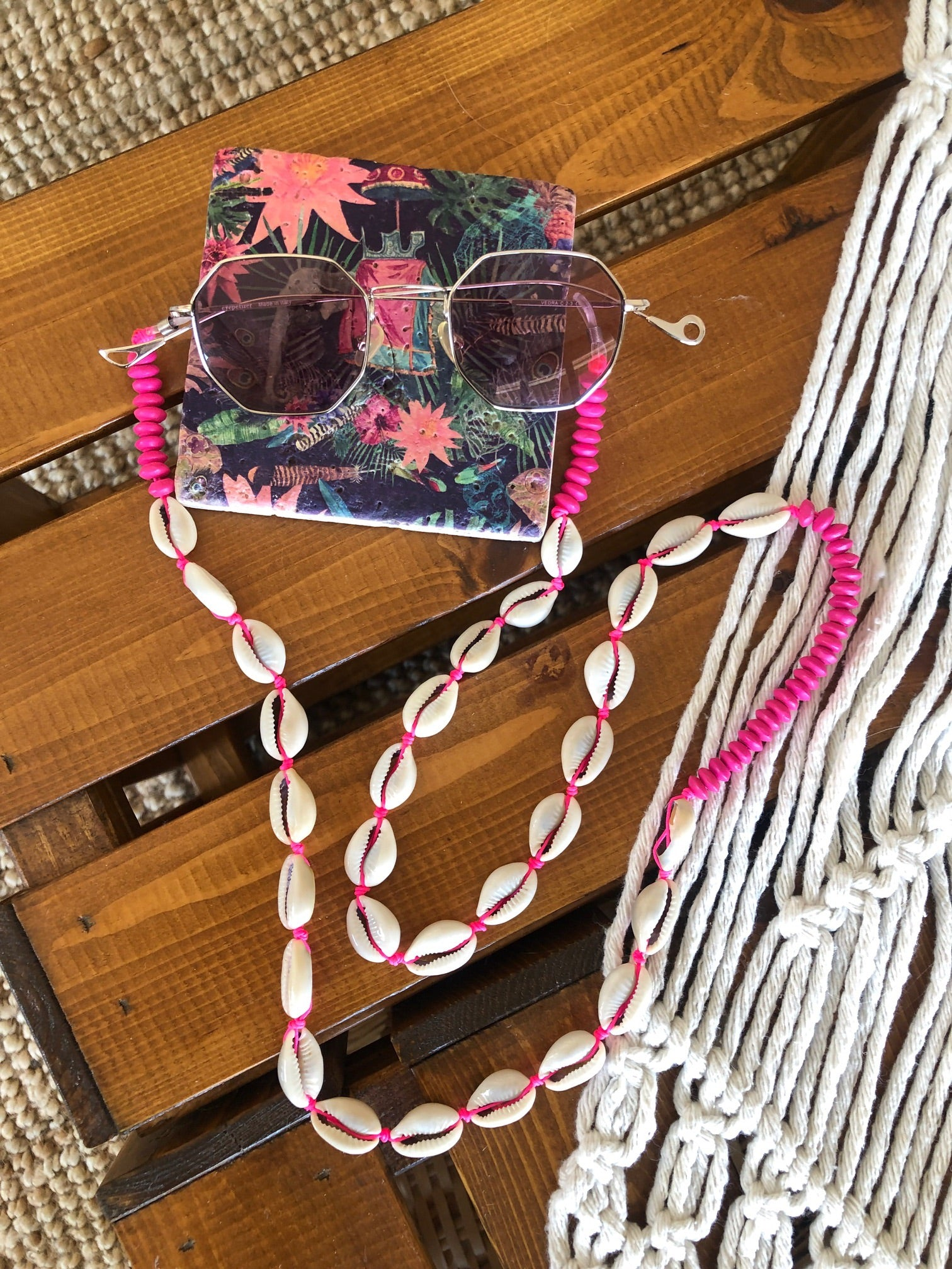 neon pink cowrie strap