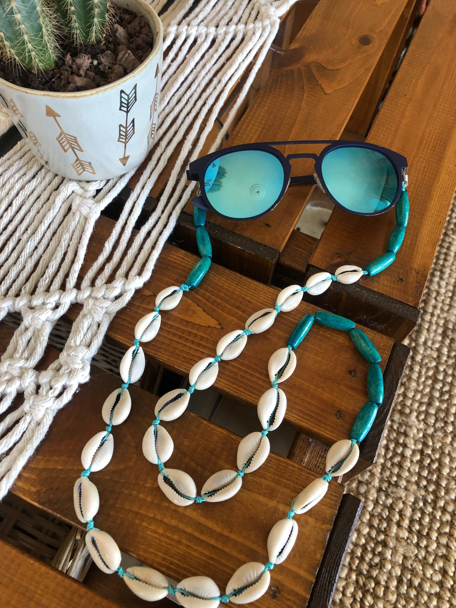 turquoise cowrie strap