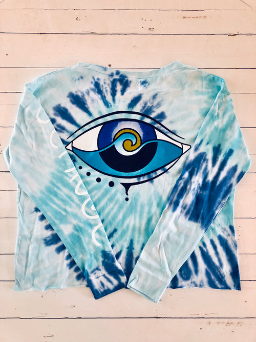 TIE DYE LONG SLEEVE CROP LOGO T
