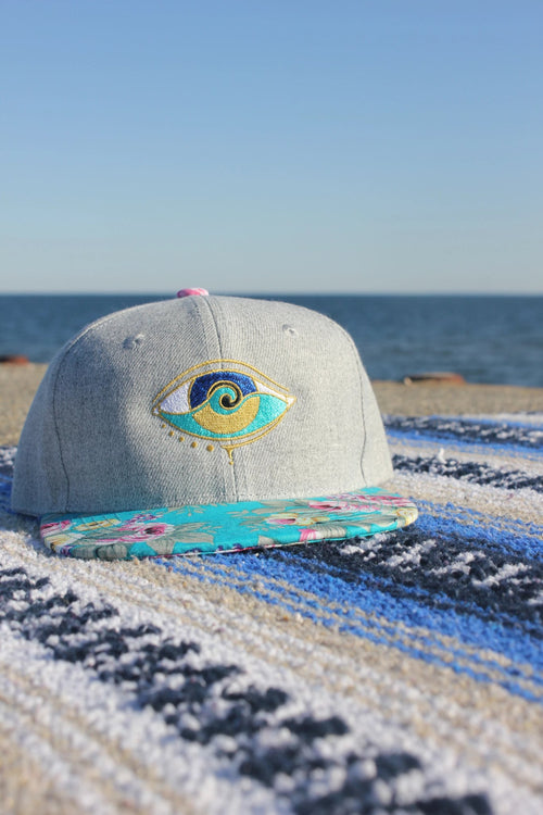 kids light grey floral brim embroidered SEANOE snapback hat