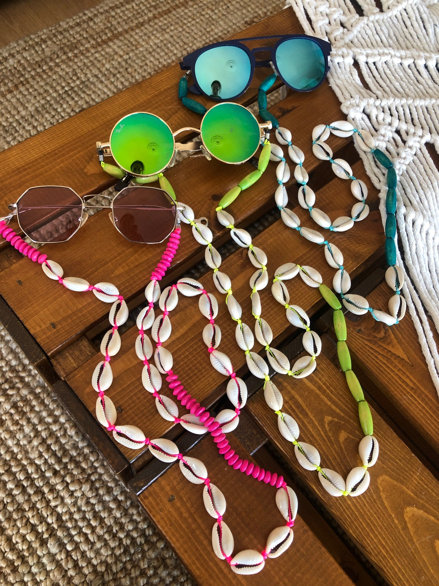 neon pink neon yellow turquoise cowrie straps