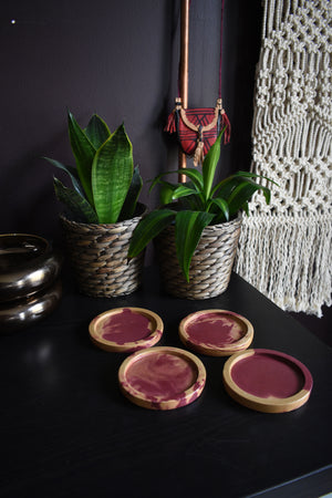 Burgundy and Gold Concrete Coaster Set