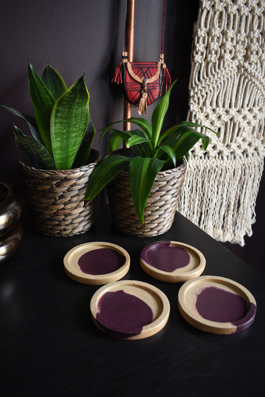 Deep Purple and Gold Concrete Coaster Set