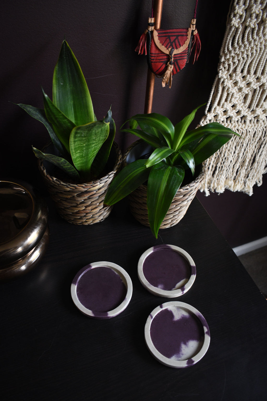 Purple and Natural Color Concrete Coaster Set