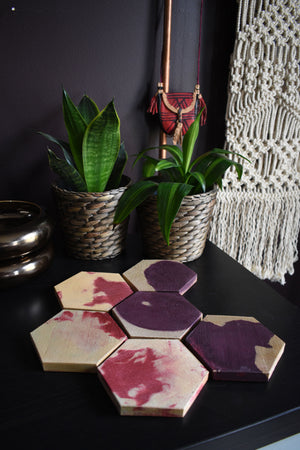 Hexagon MultiColor Concrete Coaster Set