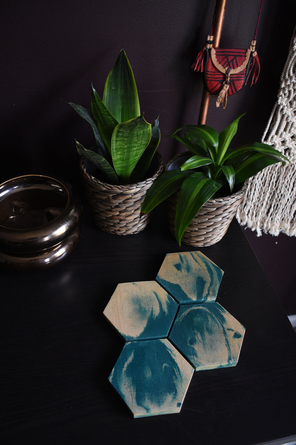 Hexagon Dark Green and Gold Concrete Coaster Set