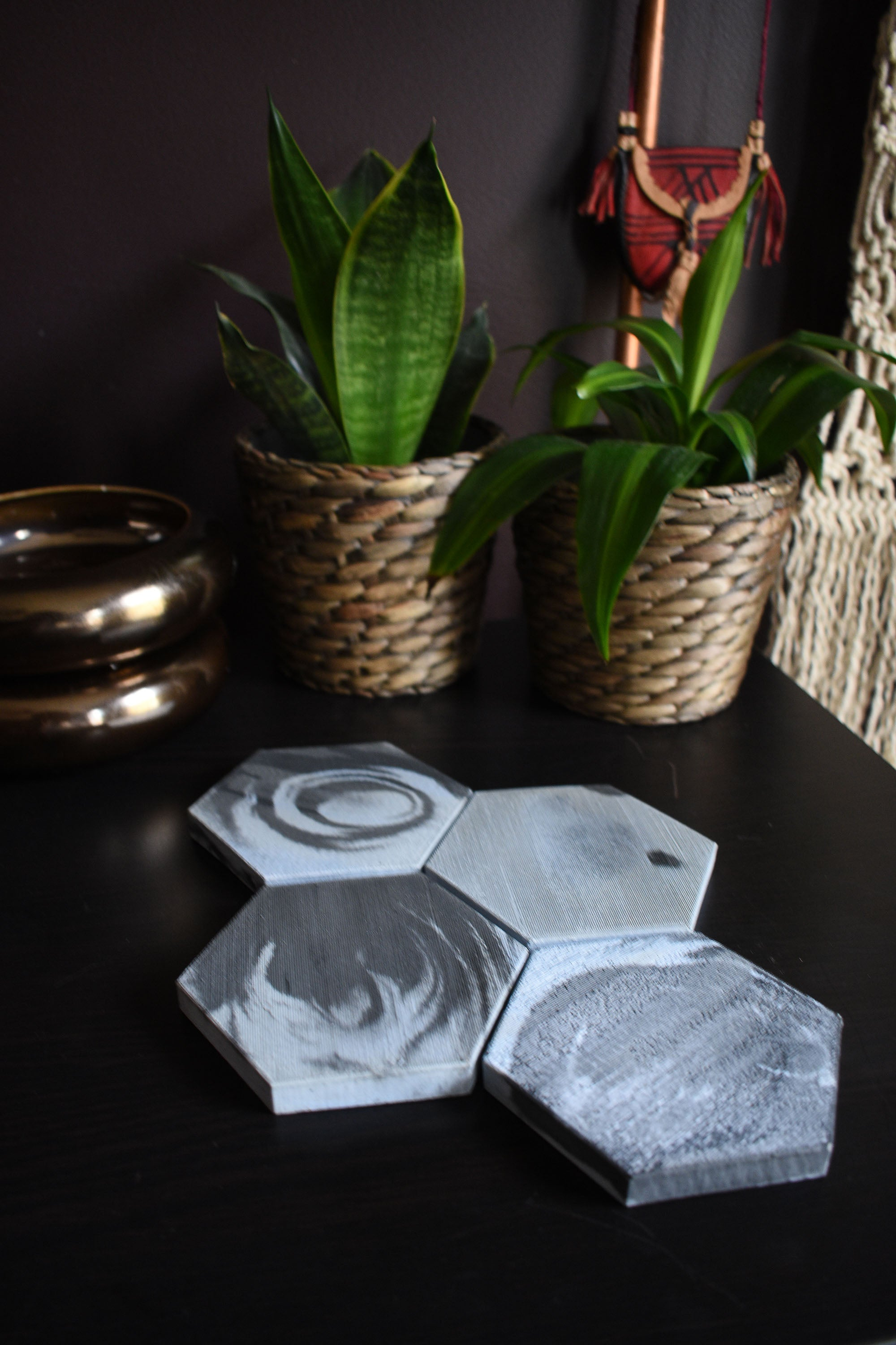 Hexagon Pale Blue and Black Concrete Coaster Set