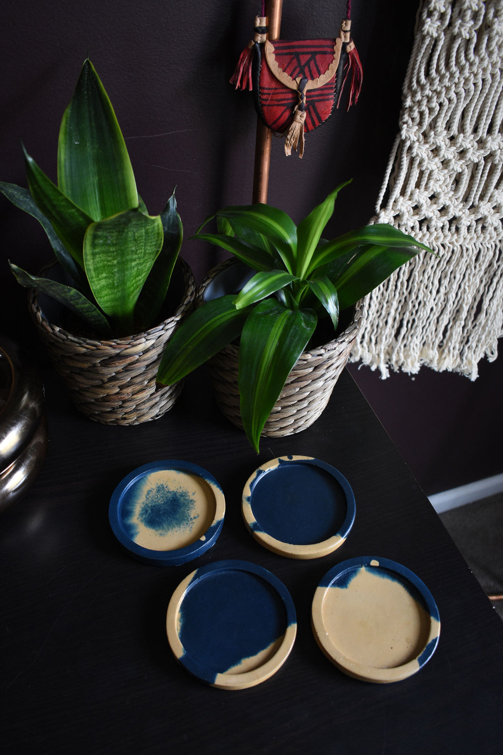 Navy and Gold Concrete Coaster Set