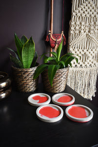 Red and Natural Color Concrete Coasters