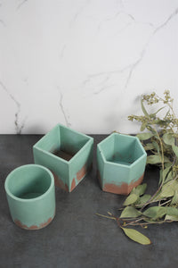 Mint Green and Light Brown Concrete Planter