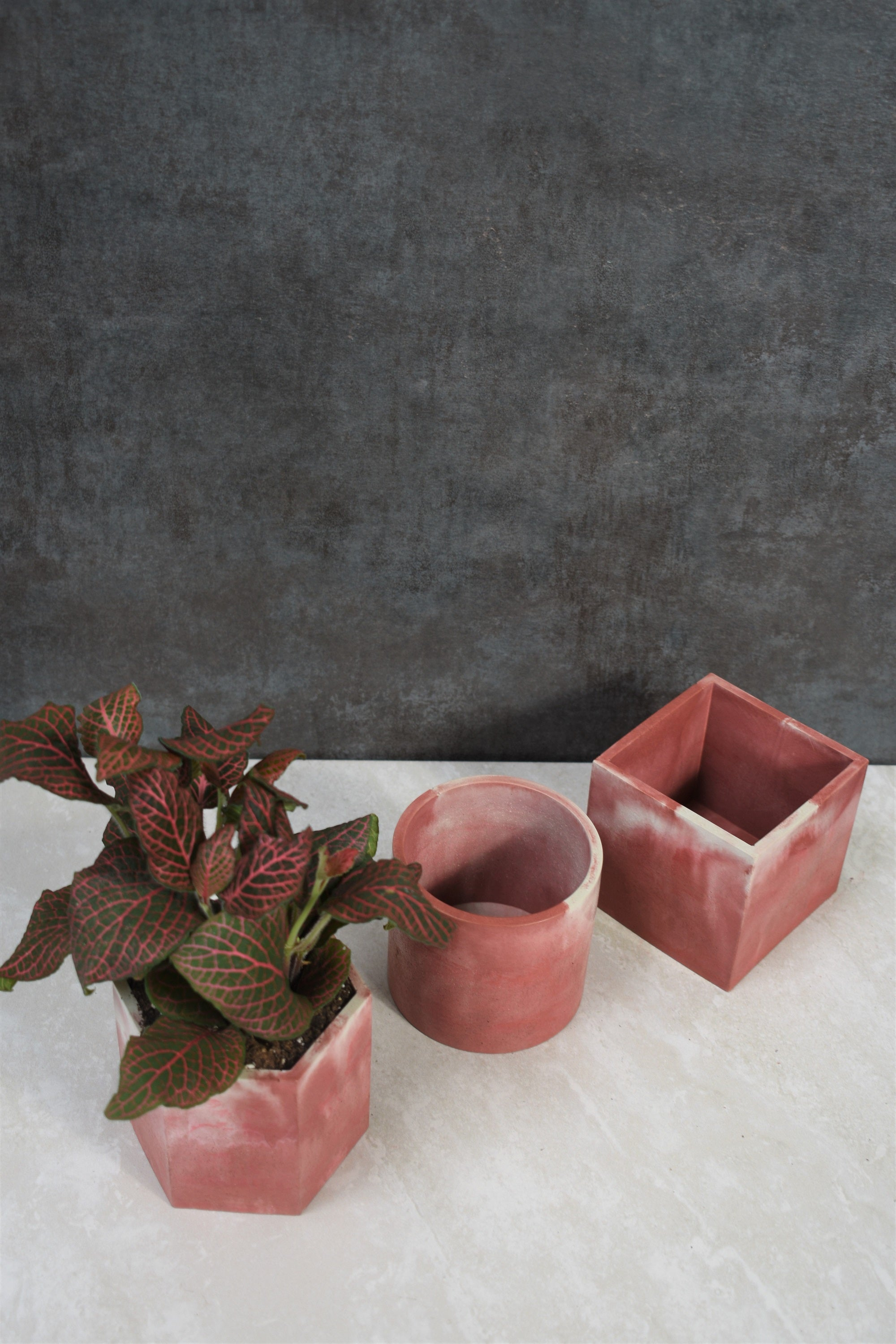 Pale Terracotta Swirl Concrete Planter
