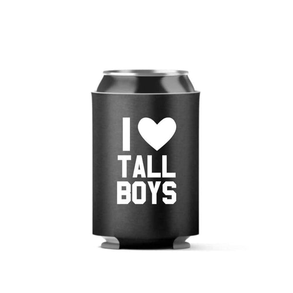 I Heart Tall Boys Can Cooler (4 Pack) - Can Coolers / Black / 11oz - Design