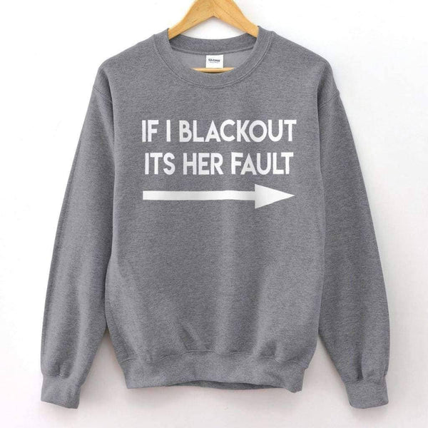 If I Blackout 1 Crew Neck - Unisex Long Sleeve T-Shirt / Sport Grey / S - Design