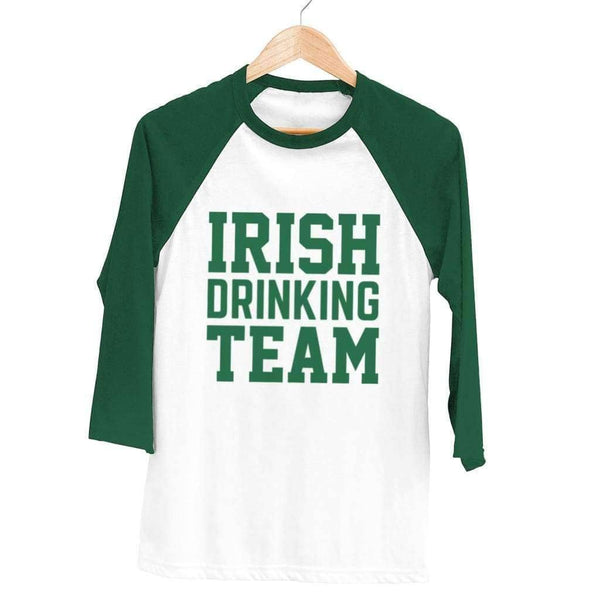 Irish Drinking Team Raglan - Unisex Raglan T-Shirt / White/ Forest / XS - Design