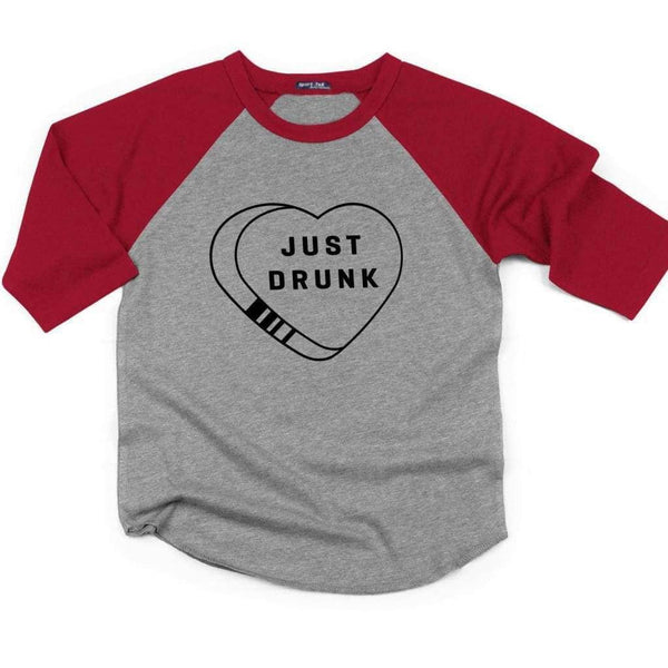 Just Drunk Raglan - Unisex Raglan T-Shirt / Heather Grey/ Red / S - Design