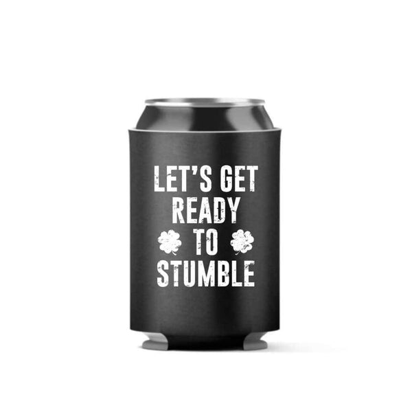 Lets Get Ready To Stumble Can Cooler (4 pack) - Can Coolers / Black / 11oz - Design