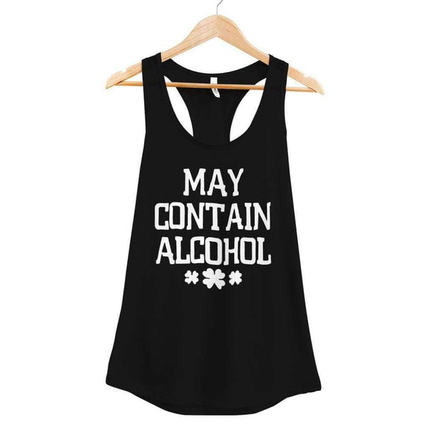 May Contain Alcohol Tank - Ladies Racerback Tank / Black / XS - Design