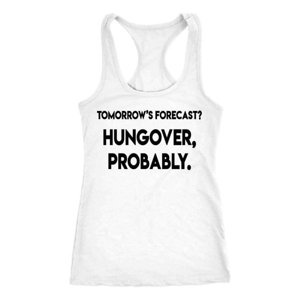 Tomorrows Forecast Tank - Ladies Racerback Tank / White / XS - Design