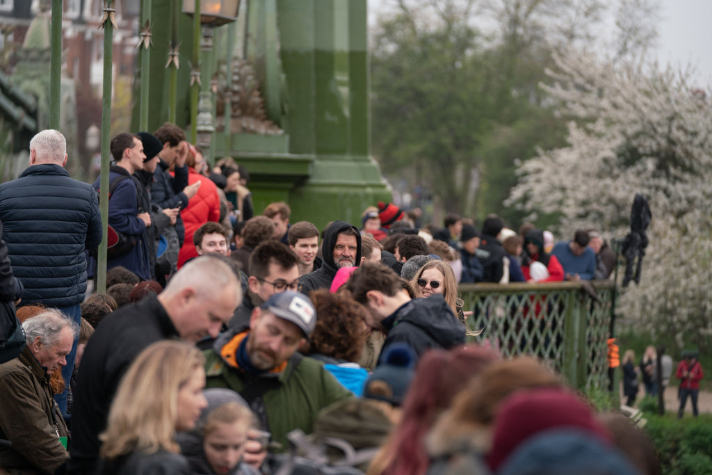 Thousands gather to watch the 2019 Boat Race on Hammersmith Bridge