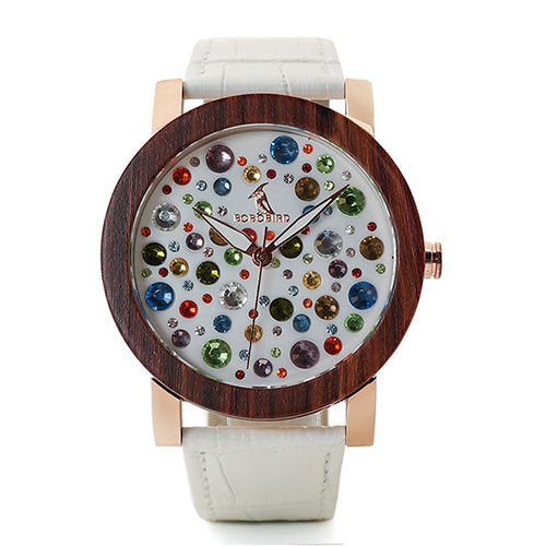 BOBO BIRD Rhinestone Watches Austrian Crystal Ceramic Leather band