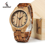 BOBO BIRD Zebra Wood Quartz Watch