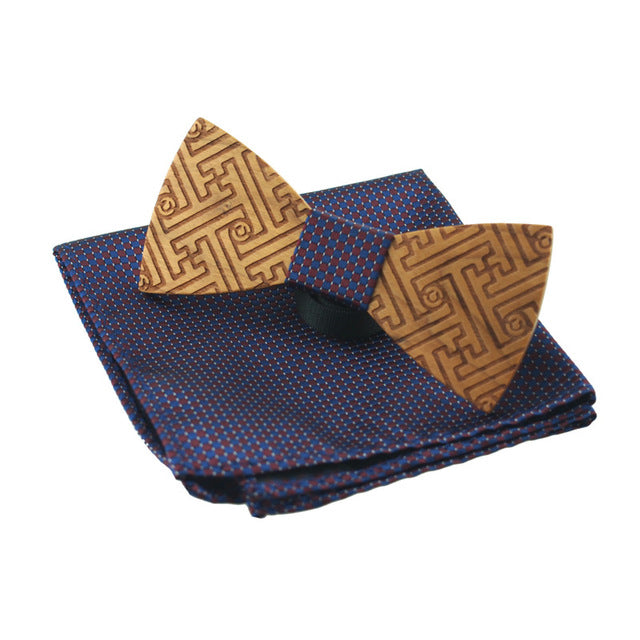 Laser carved Handmade Bowties +pocket square