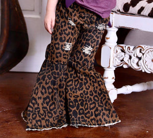 Denim Leopard Toddler Bell Bottoms